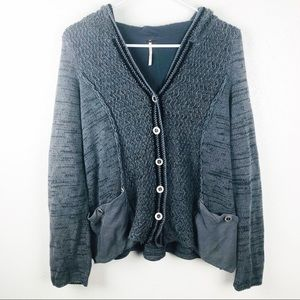 Free People | Gray Button Down Boho Sweater